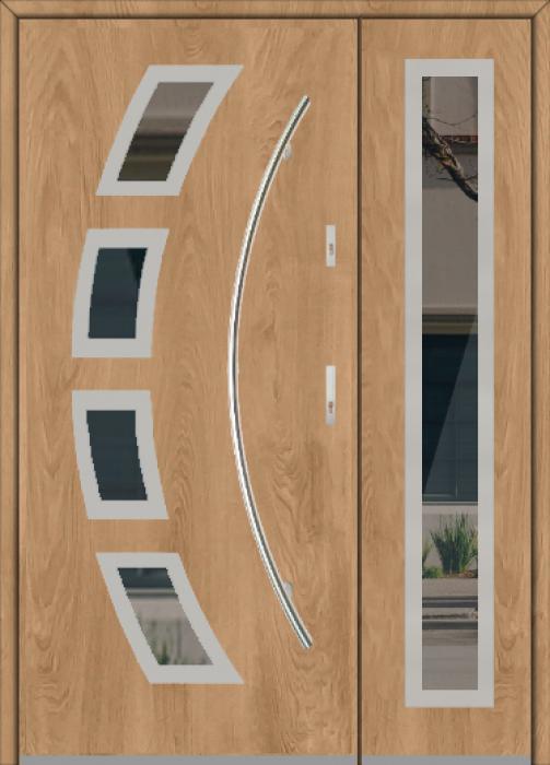Fargo 21A DB - Haustüren Simply Edelstahl mit Seitenteil