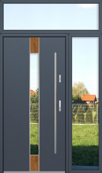 kundenspezifische Konfiguration - Fargo Tür mit rechtem Seitenteil und Oberlicht (Ansicht von außen)