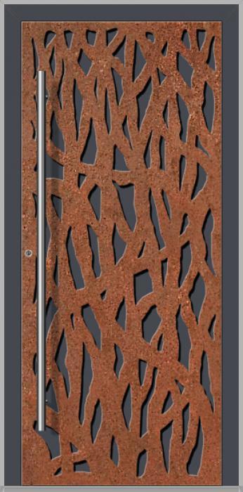 LIM Corrode  - Aluminium-Haustür mit korrodiertem Cortenstahl