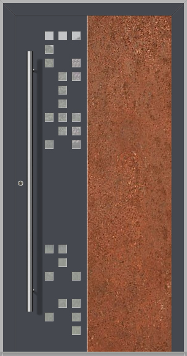 LIM DigitalC  - Aluminium-Haustür mit korrodiertem Cortenstahl