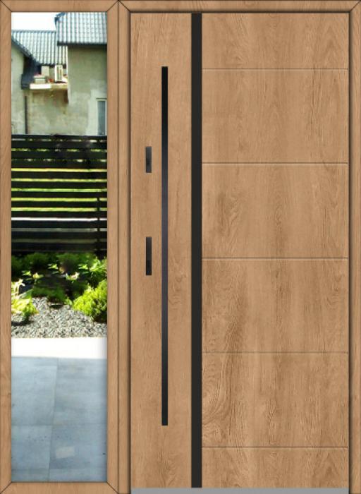 kundenspezifische Konfiguration - Fargo-Tür mit linker Seitenwand (Ansicht von außen)