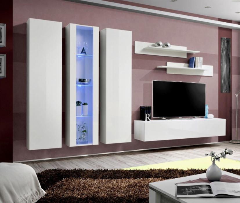 Idea 3 - Wohnwand weiß hochglanz