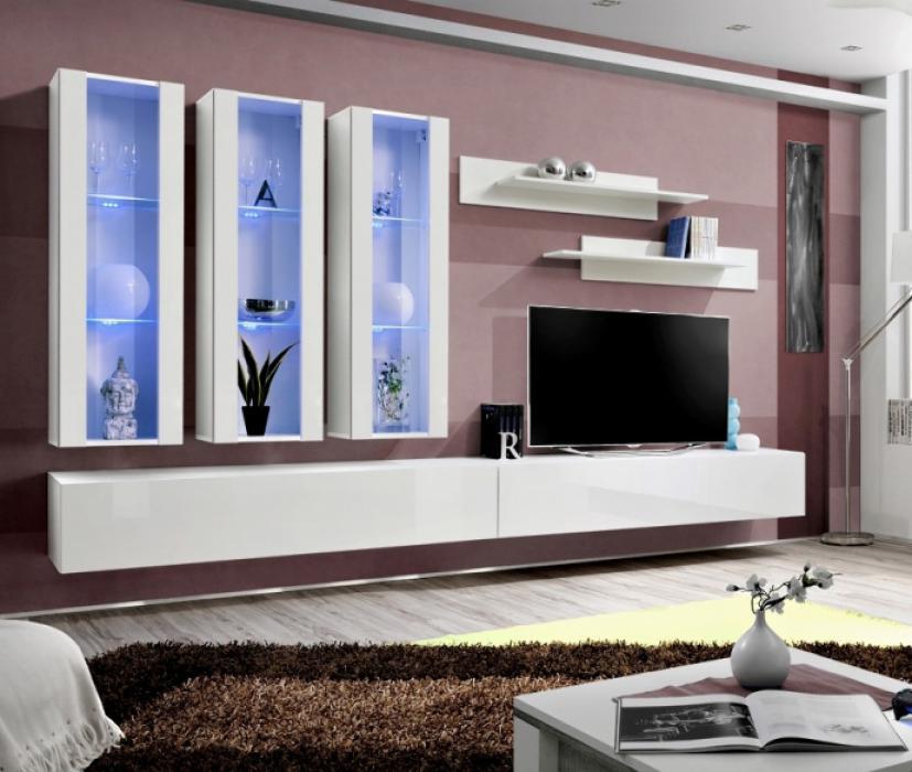 Idea E3 - Wohnwand weiß hochglanz