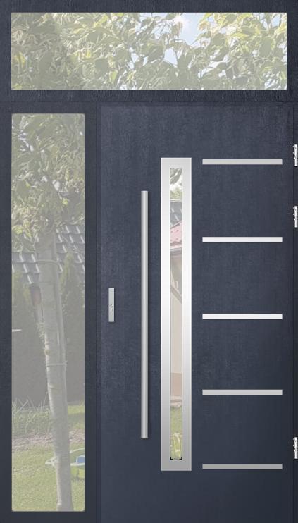 kundenspezifische Konfiguration - STA Tür mit linkem Seitenteil und Oberlicht (Ansicht von außen)