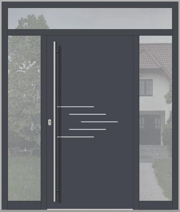 LIM-Tür mit linkem, rechtem und oberem Seitenlicht (Ansicht von außen)