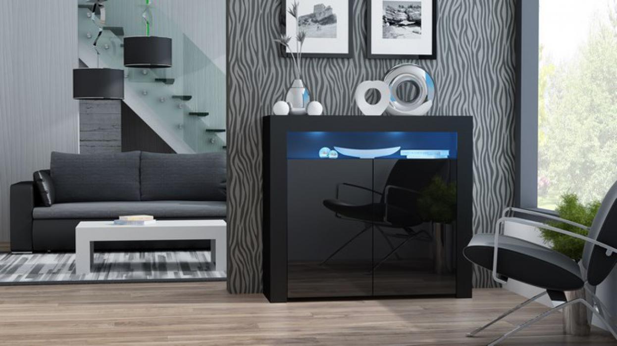 Milano Anrichte 2D schwarz - kommode buche
