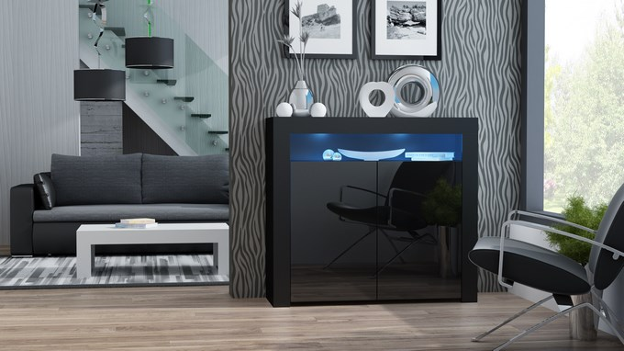 Milano Sideboard 2D schwarz - Kommode buche