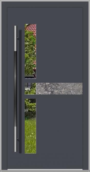 LIM Chip-BS - Aluminium-Haustür mit Naturstein