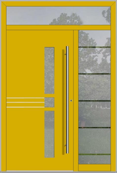 LIM-Tür mit rechtem und oben Seitenlicht (Ansicht von außen)