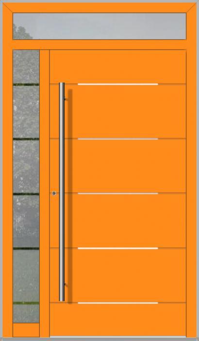 LIM-Tür mit linkem und oben Seitenlicht (Ansicht von außen)